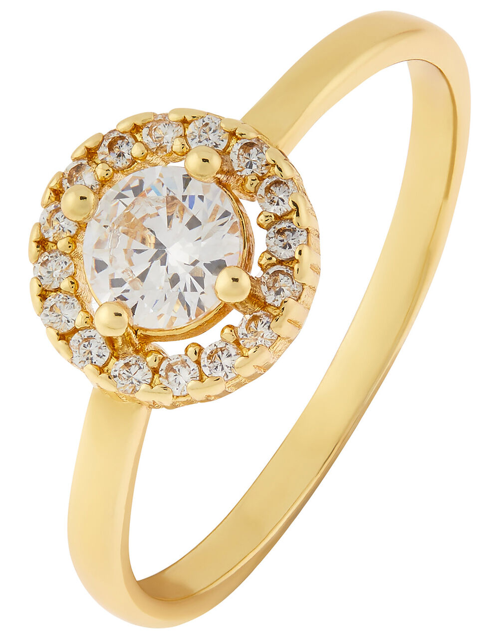 Gold-Plated Crystal Halo Engagement Ring, Gold (GOLD), large
