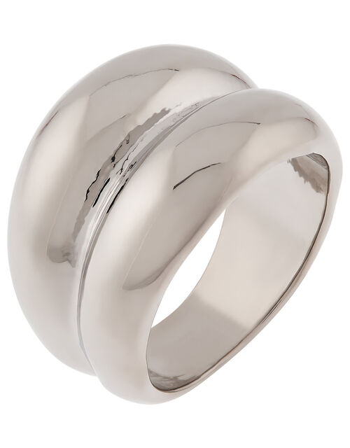 Double Chunky Ring with Recycled Metal, Silver (SILVER), large