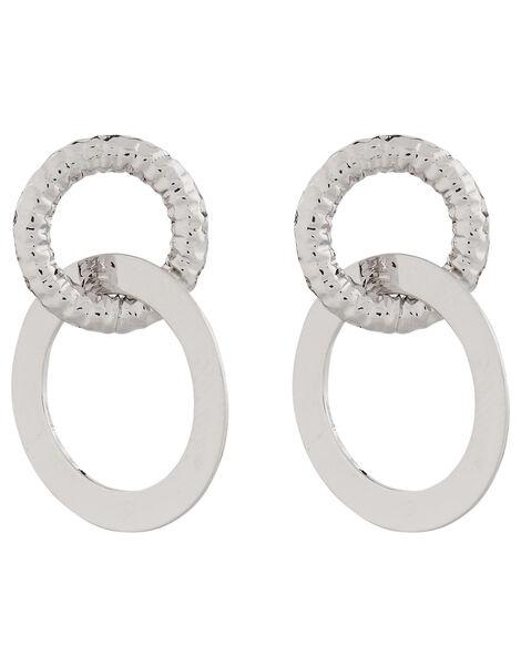 Textured Circle Link Drop Earrings, , large