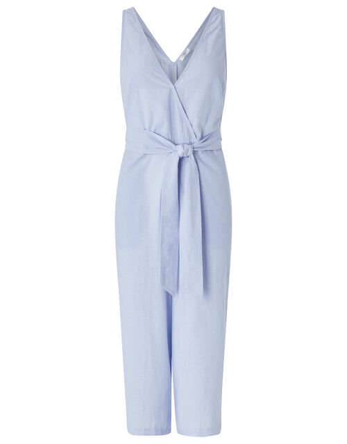Tie Belt Jumpsuit, Blue (BLUE), large