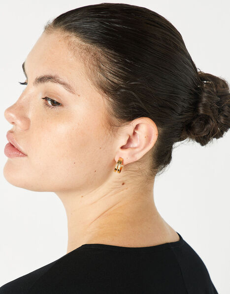 Gold-Plated Double Hoop Earrings, , large