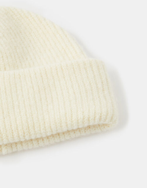 Compton Fluffy Beanie Hat, Natural (NATURAL), large