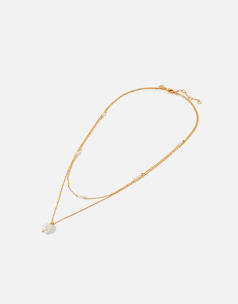 Gold-Plated Pearl Layered Pendant Necklace, , large