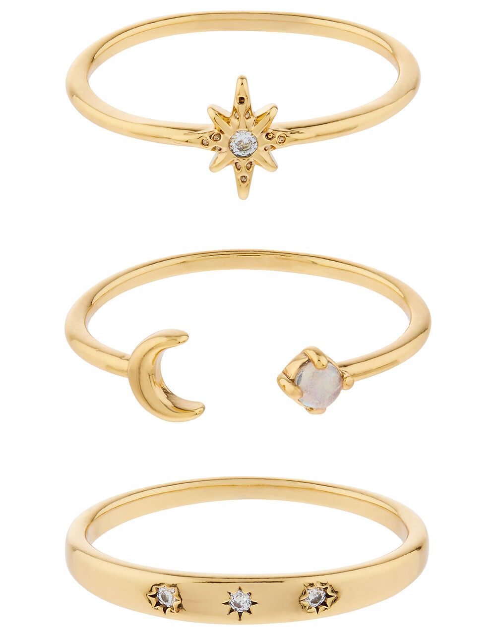 Star and Moon Sparkle Ring Set, Gold (GOLD), large