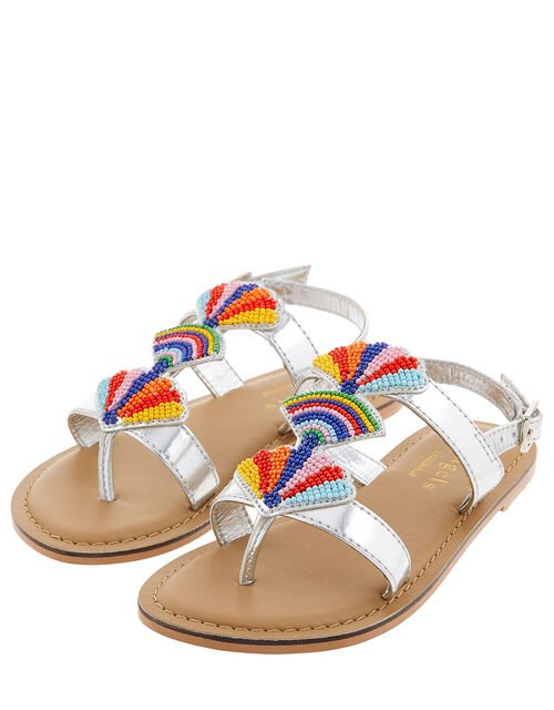 Colourful Bead Metallic Sandals, Multi (BRIGHTS-MULTI), large