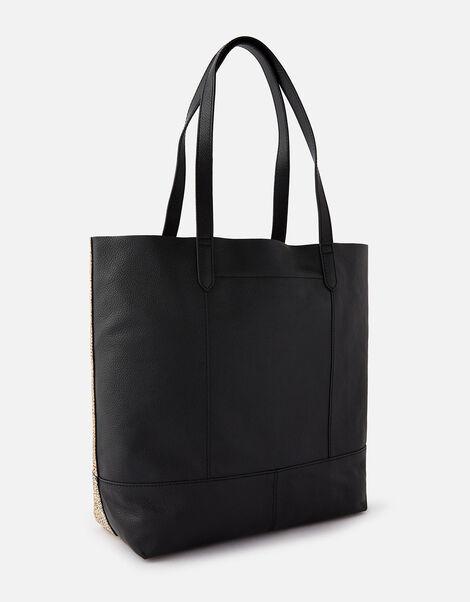 Animal Foil Print Leather Shopper Bag, , large