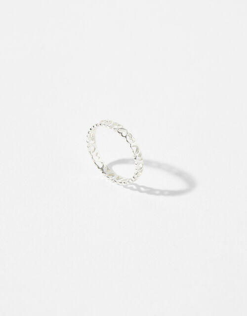 Sterling Silver Heart Band Ring, Silver (ST SILVER), large