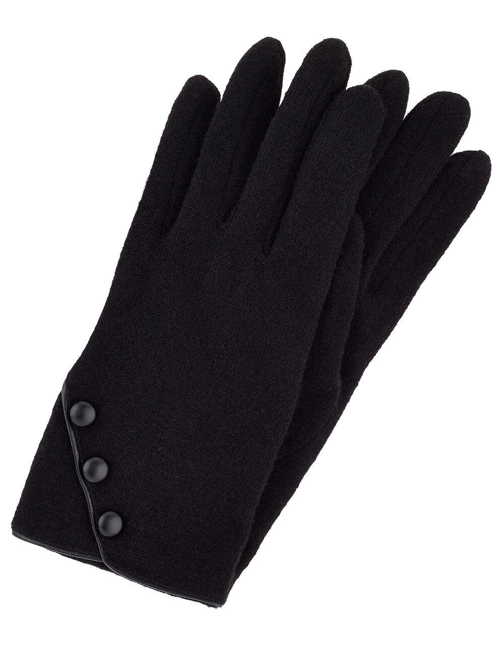 Button Cuff Gloves in Wool Blend, Black (BLACK), large