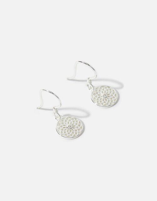 Sterling Silver Filigree Drop Earrings, , large