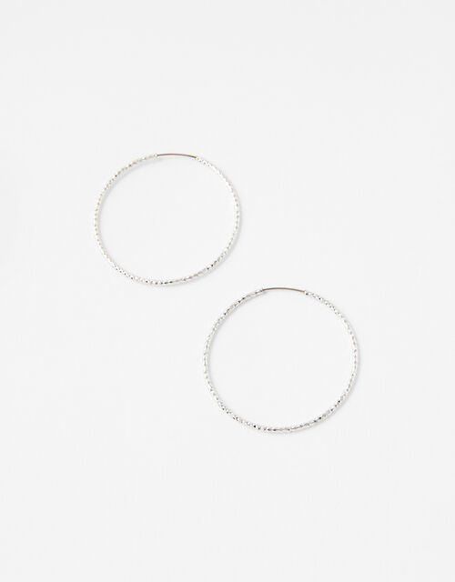 Medium Textured Hoop Earrings, Silver (SILVER), large