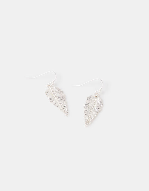 Pave Leaf Earrings with Recycled Metal, , large