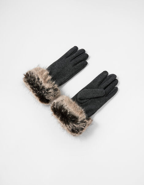 Faux Fur Cuff Touchscreen Gloves Grey, Grey (GREY), large