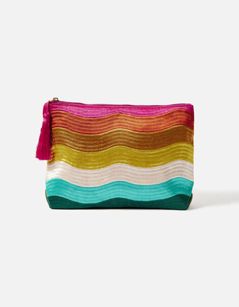 Rainbow Wave Embroidered Wash Bag, , large