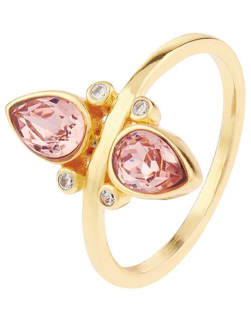 Sparkle Vintage Rose Ring with Swarovski® Crystals, Pink (PINK), large