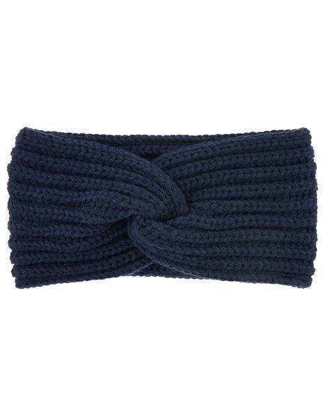 Soft Knit Bando Headband Blue, Blue (NAVY), large