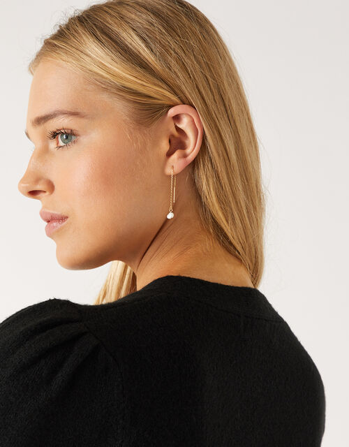 Gold-Plated Pearl Long Drop Earrings, , large