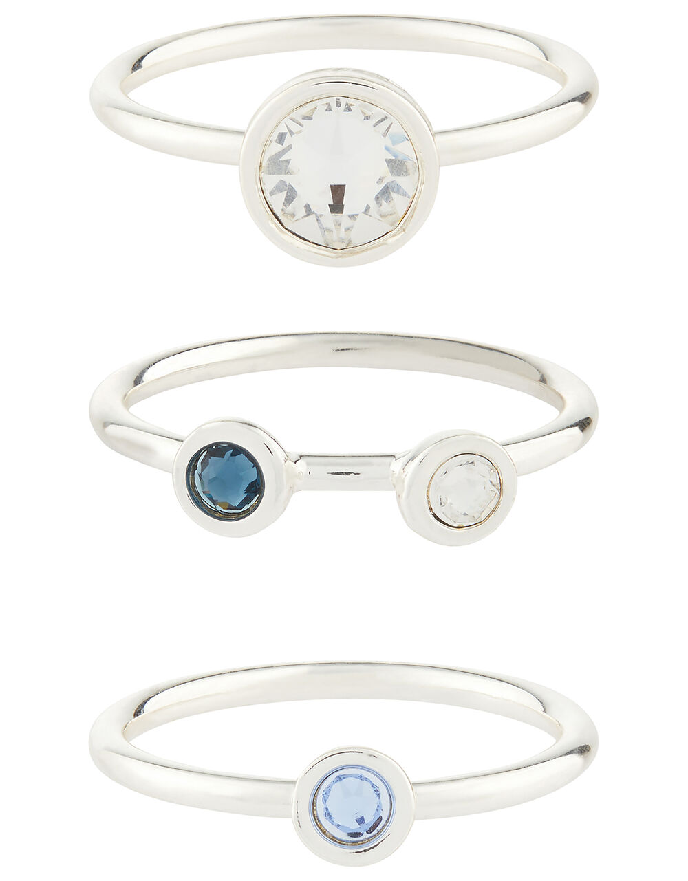 Stacking Ring Set with Swarovski® Crystals, Multi (BRIGHTS-MULTI), large