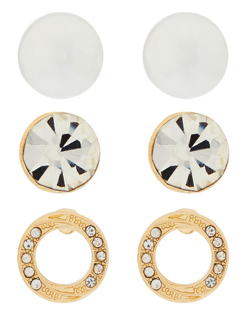 Pearl and Sparkle Stud Earring Set, , large