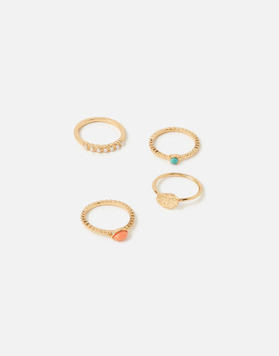 Island Vibes Stacking Ring Set Multi, Multi (BRIGHTS-MULTI), large
