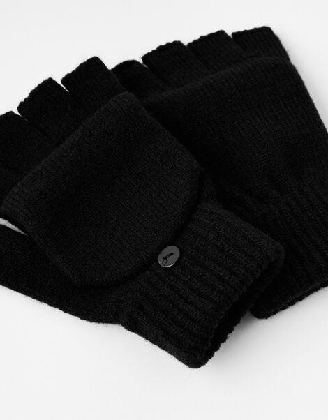Plain Capped Gloves Black, Black (BLACK), large