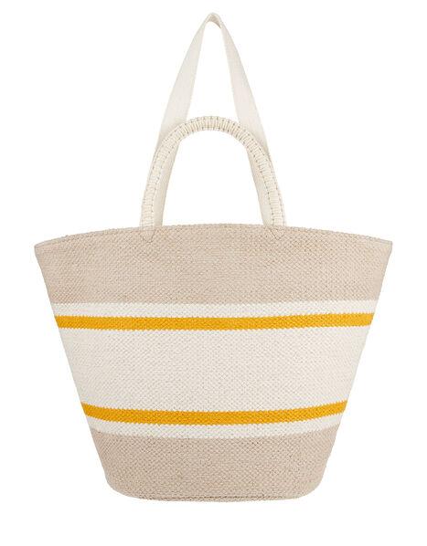 Oversized Double-Handled Basket Tote Bag, , large