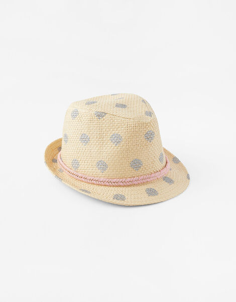 Foil Shell Print Trilby Hat Natural, Natural (NATURAL), large
