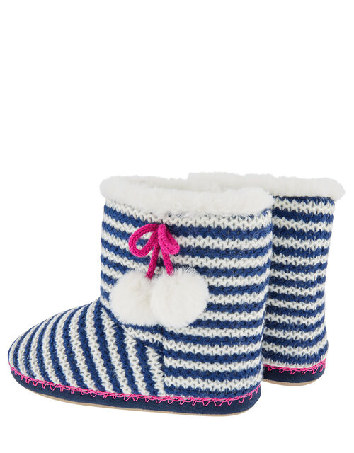 Stripe Pom-Pom Knit Slipper Boots, Blue (NAVY), large