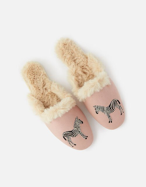 Zebra Fluffy Slippers, Pink (PALE PINK), large