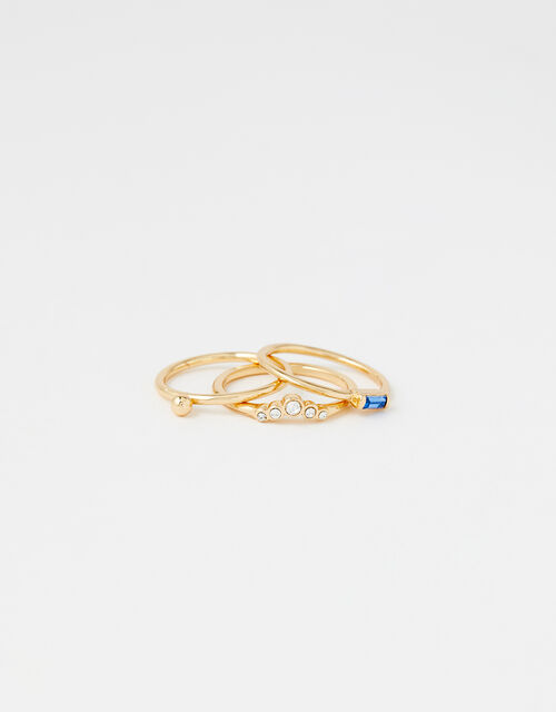 Baguette Gem Ring Set, Blue (BLUE), large