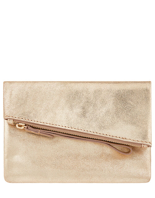 Leather Foldover Pouch, Gold (GOLD), large