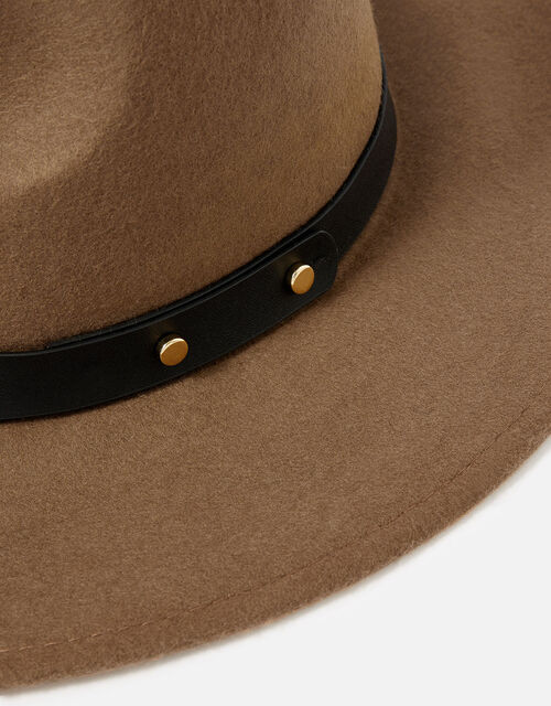 Camilla Fedora Hat in Pure Wool, Brown (CHOCOLATE), large