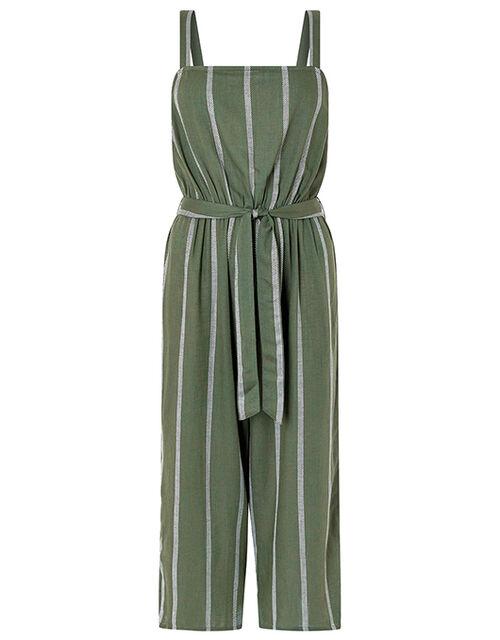 Striped Jumpsuit with Waist Belt, Green (KHAKI), large