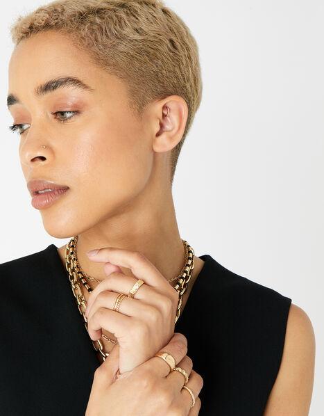 Berry Blush Textured Hexagon Ring Set Gold, Gold (GOLD), large