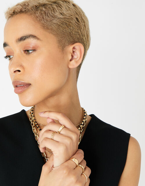 Berry Blush Textured Hexagon Ring Set, Gold (GOLD), large