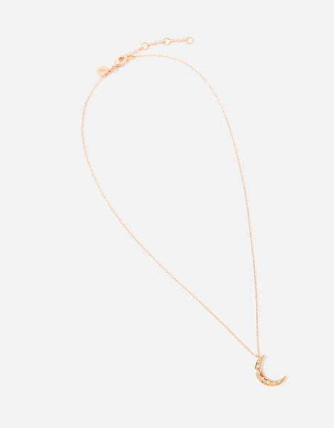 Rose Gold-Plated Moon Pendant Necklace, , large
