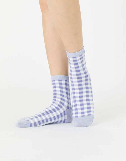 Gingham Ankle Socks, , large
