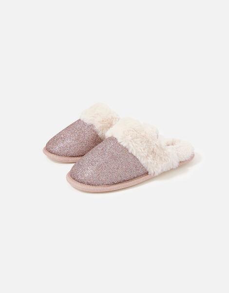 Glitter Fluffy Mule Slippers Purple, Purple (PURPLE), large