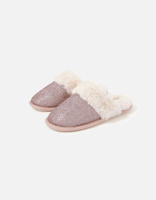Glitter Fluffy Mule Slippers, Purple (PURPLE), large