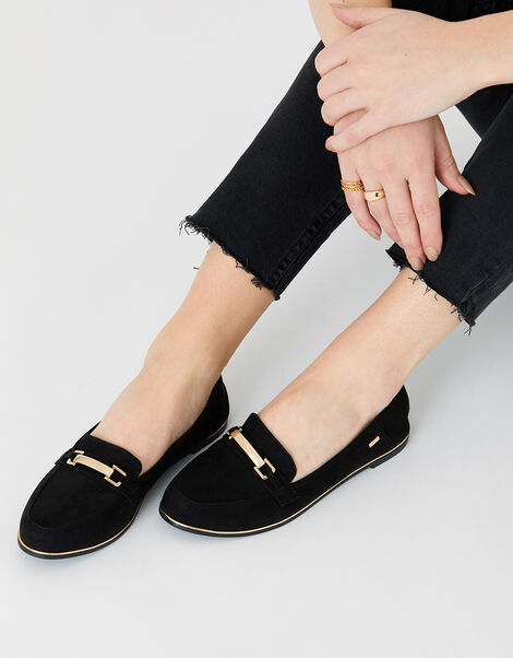 Metal Bar Loafers Black, Black (BLACK), large