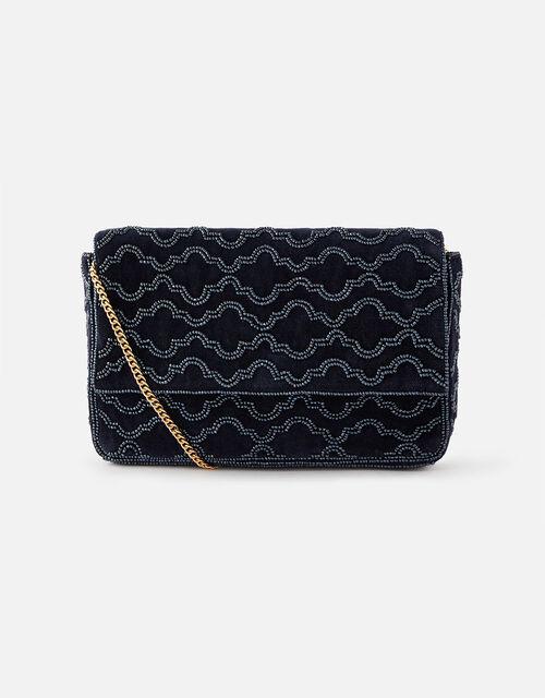 Grecian Tile Velvet Clutch Bag , Blue (NAVY), large
