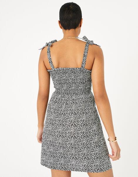 Dot Print Bandeau Dress in Organic Cotton Black, Black (BLACK/WHITE), large