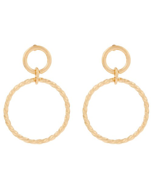 Twisted Circle Drop Earrings, , large