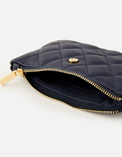 Quilted Coin Purse , Blue (NAVY), large