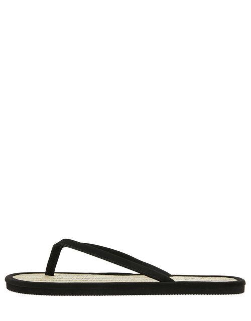 Plain Seagrass Flip Flops, Black (BLACK), large