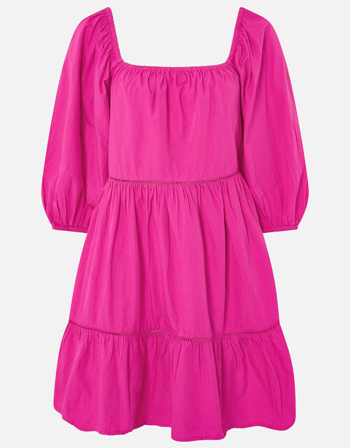 Puff Sleeve Poplin Dress, Pink (PINK), large