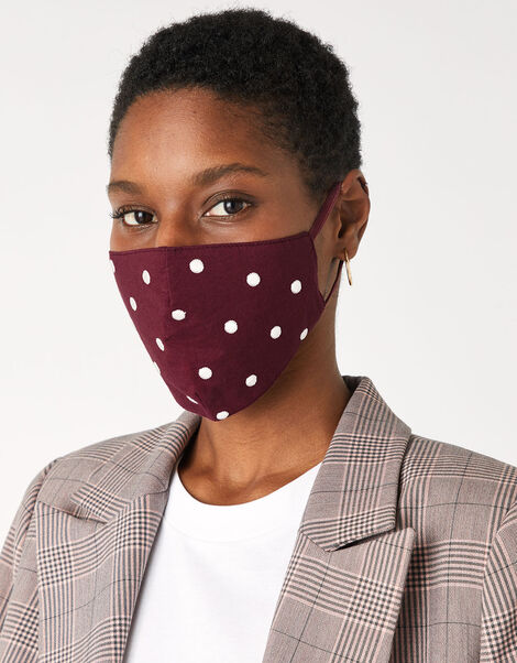 Embroidered Polka Dot Face Covering with Bag, , large