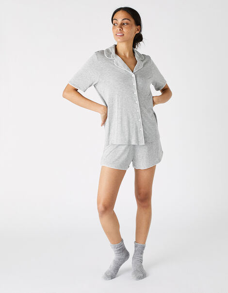 Jersey Shirt and Shorts Pyjama Set Grey, Grey (GREY), large