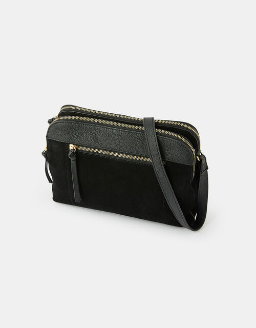 Monica Leather Double Zip Cross-Body Bag, , large