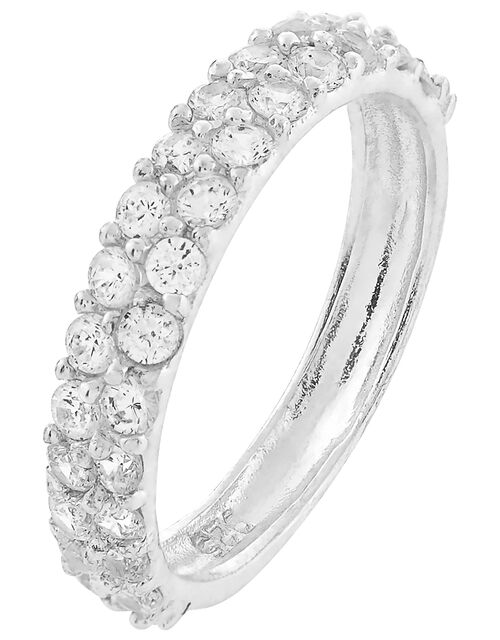 Sterling Silver Crystal Band Ring, St Crystal, large