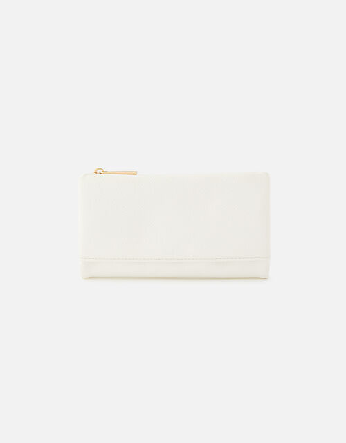 Foldover Zip Coin Purse , White (WHITE), large